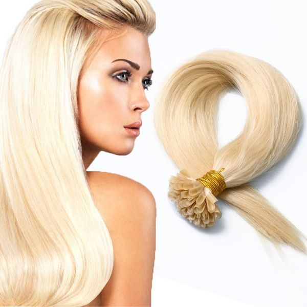 2016 Popular Lightest Blonde Soft Straight Keratin U Tip Colorful Human Hair Extensions 6A Indian Remy Hair