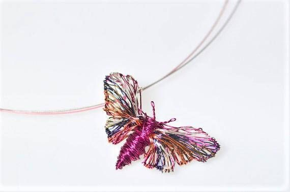 Butterfly art pendant, wire butterfly pendant, butterfly necklace, rainbow, butterfly jewelry, fuchsia necklace, Christmas, cute gift women  This is a handmade butterfly art jewelry. This fuchsia necklace is made of colored copper and silver wire. The height of the cute necklace art rainbow jewelry is 2cm (0,79in) and the width (body with wings) is 4cm (1,57in). The insect necklace, Christmas gift for women, hanging from steel wire and the clip is handmade silver. Very easy and safe to snap.