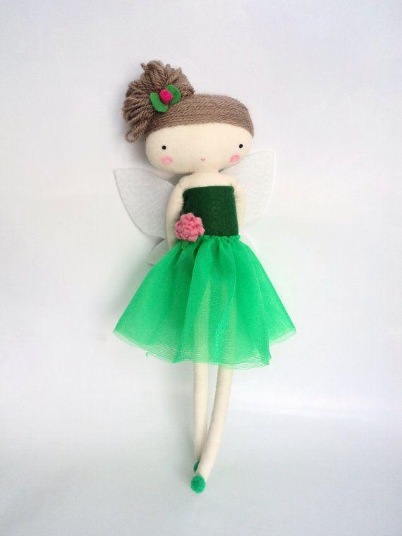 tinker bell  rag doll - art doll  fairy tale cloth doll handmade in spain