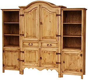 Place this large, affordable entertainment center in any room where you need more storage, or fill it with your TV, video and audio equipment. The bonnet top finishes off the rustic, southwestern style that blends so well with other casual furniture. The armoire's interior features a removable panel in the back in case you need more depth and an upper shelf that is both adjustable and removable.
