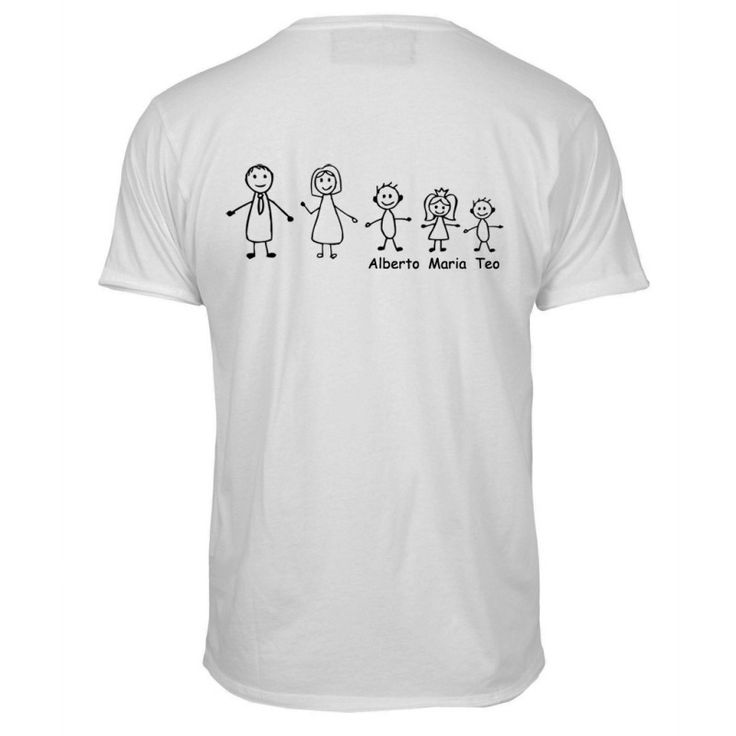 Camiseta familia. Camiseta personalizada con los personajes de tu familia. Un regalo ideal para sorprender a un hombre en su cumpleaños o en el día del padre. La camiseta es blanca y el dibujo va en la parte trasera. Por favor indícanos los nombres de los niños, de mayor a menor y también indícanos si es niño/a o bebé. La estampación puede ser en rojo, azul marino, negro o gris. Puedes elegir la talla y si quieres la estampación por delante o por detrás. Precio: 17,50 €