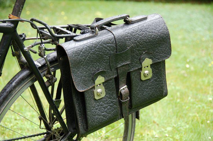 Fahrradtasche Leder - Vintage-Aktentasche Papst Franziskus - bei DaWanda