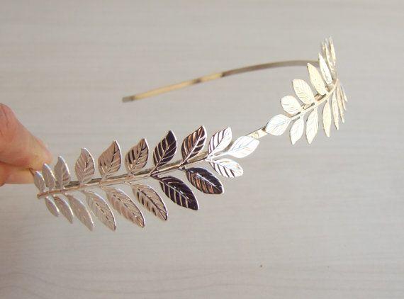Bridal  Silver Headband,  Leaf Headband, Leaf Crown Tiara, Grecian Headband, Hair Accessories, Greek Goddess Crown on Etsy, Sold