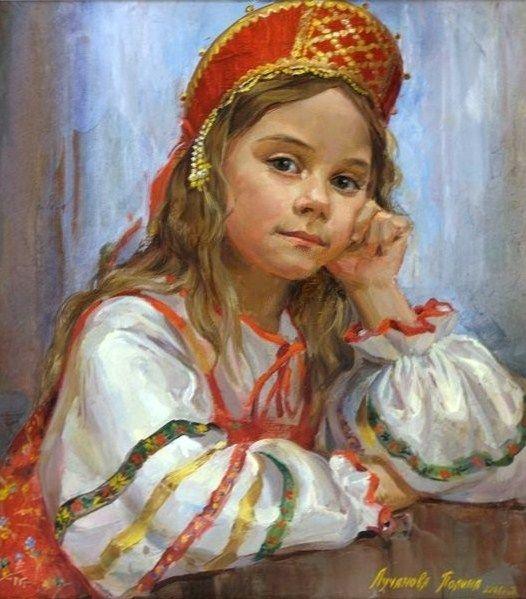 Russian costume in painting. Polina Luchanova. Girl in Russian Costume. 2008. #cute #kids #Russian #folk