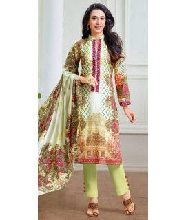 Radiant Green And Multi-Color Pashmina Straight Suit.