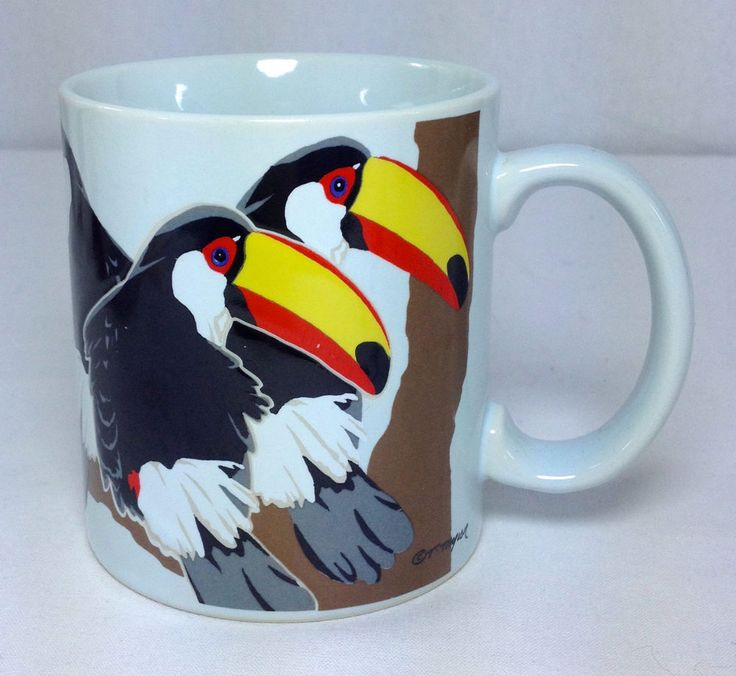 Vintage Otagiri 3 Toucan Birds Toco Trio Coffee Mug Cup Tom Taylor Japan #Otagiri #toucan