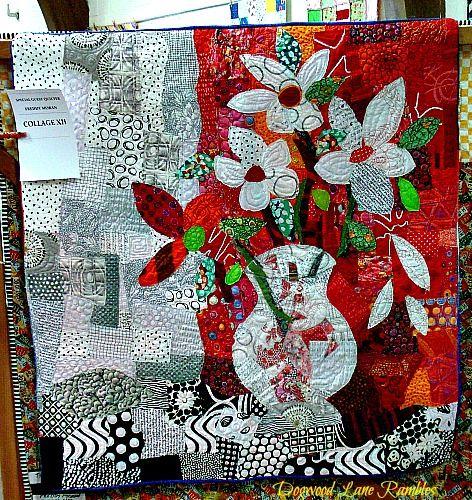 flower vase collage red quilt Freddy Moran