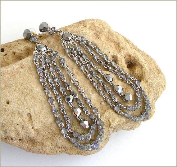 Earrings chandelier Baroque/Victorian crystal grey/silver
