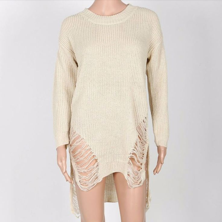 Knitted Long Sleeve Sweater Dress For Women