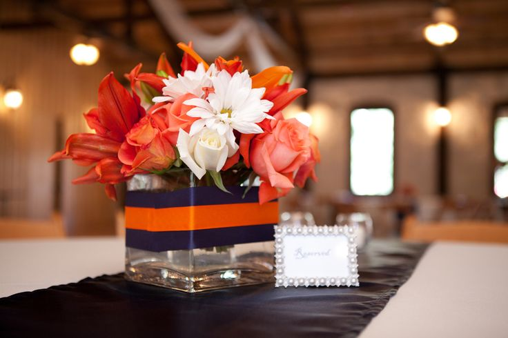 Orange & Navy Blue Wedding at Amber Springs| Photo by: jwbaugh.com