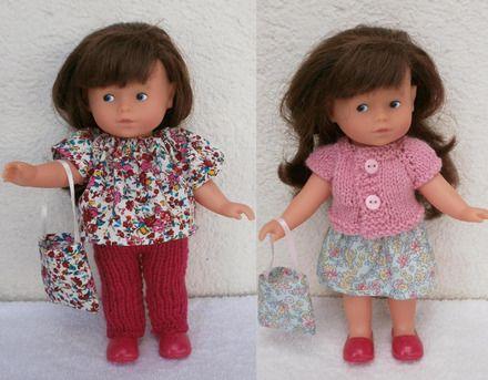 Pour poupée de 20 cm type mini Corolline, un lot de vêtements :  une tunique en coton fleuri tons rose et rouge, avec élastique à l'encolure, un pantalon rose vif tricoté e - 20392926