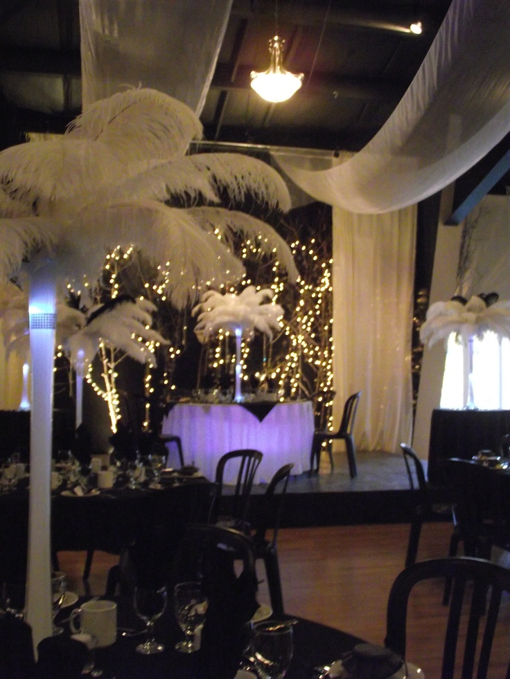 Ostrich Feathers and Uplighting