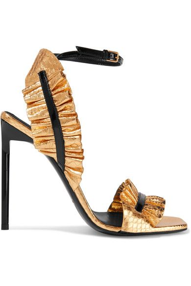 Heel measures approximately 110mm/ 4.5 inches Gold snake-effect leather, black patent-leather  Buckle-fastening ankle strap  Made in Italy