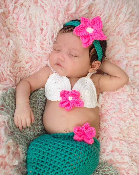 Baby Mermaid Costume Baby Mermaid Outfit by CrochetBoutiqueKL