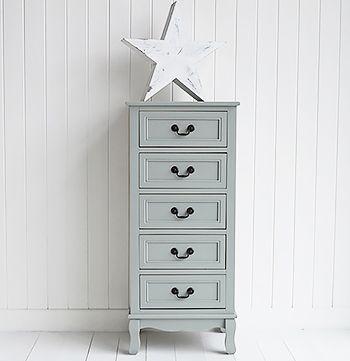 Berkeley Grey tall narrow chest of drawers