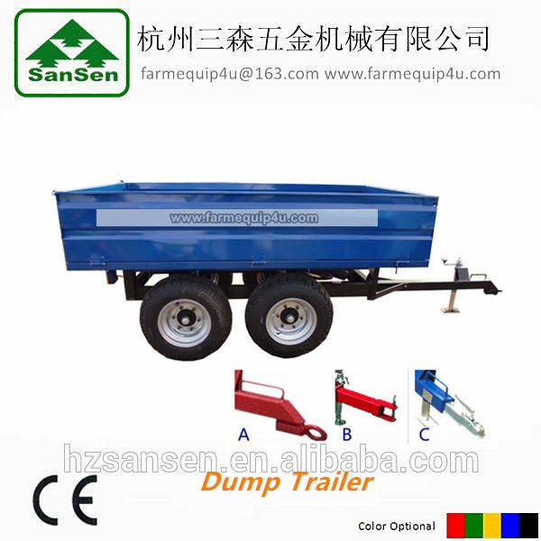 Agriculture farm dump Trailer with Doul-Axle 4wheels Hydraulic cylinder rear dump with tail lights CE Certificate