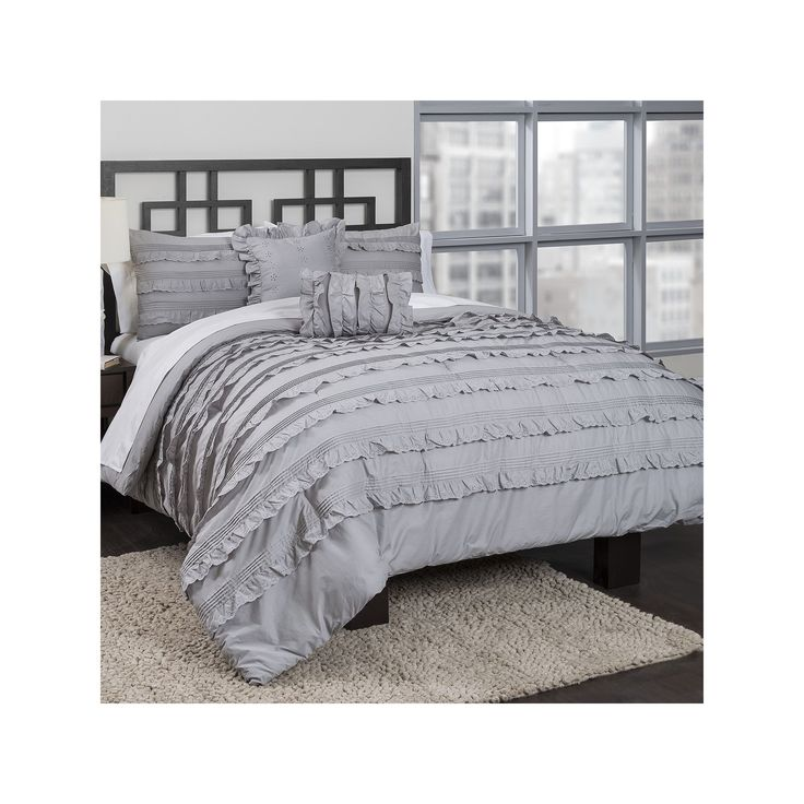 Republic Pintucked Ruffles Comforter Set, Grey