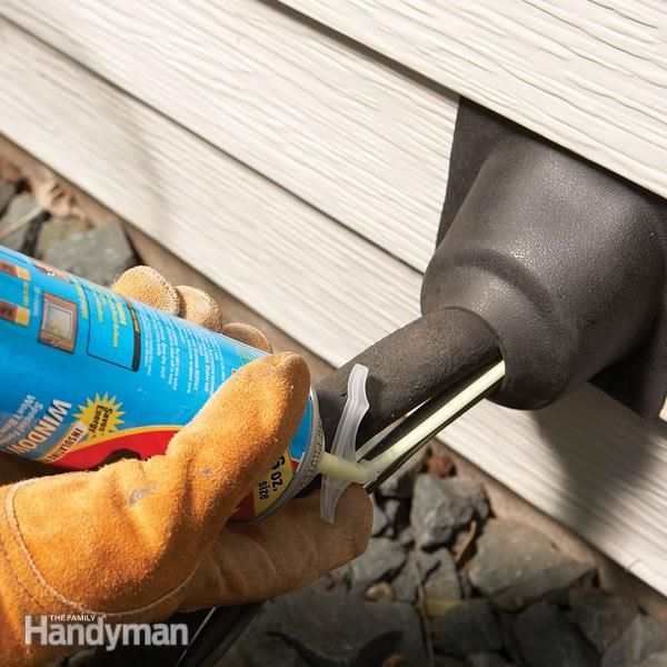 Use a rubber roofing boot to seal holes where air conditioning or plumbing lines penetrate the walls of your home.