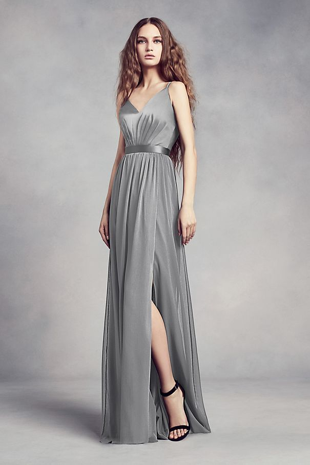 Subtly sophisticated, this White by Vera Wang bridesmaid dress features a silky charmeuse bodice, illusion back and a flowing, slit chiffon skirt.  White by Vera Wang, exclusively at David\'s Bridal