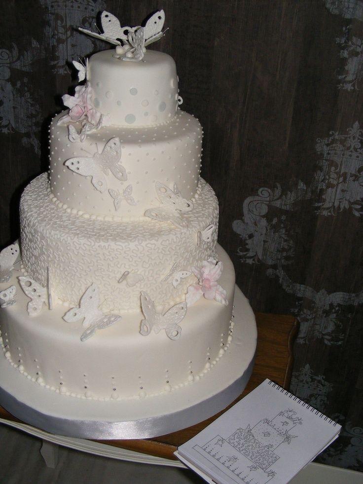 tortas de 2 pisos con mariposas para Bautizo - Buscar con ...