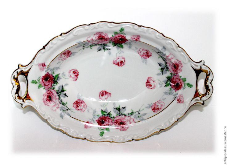 Купить Глубокое блюдо Hertel Jacob, Бавария 1930-е - розовый, антиквариат, антикварный, старина