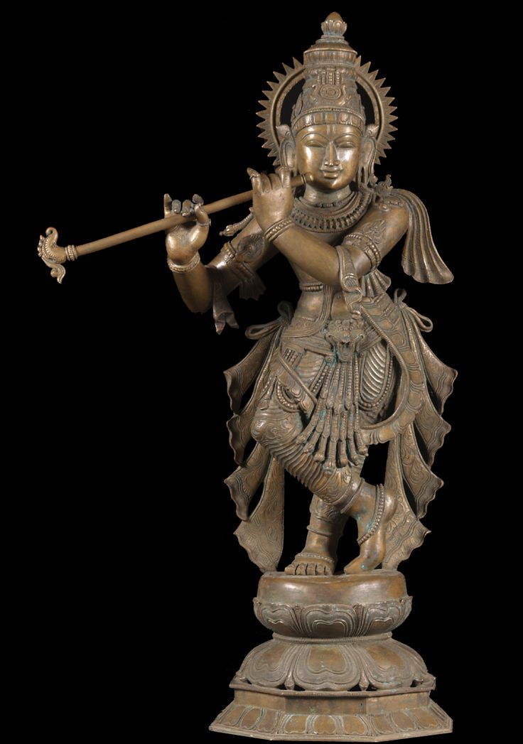 View the Bronze Krishna Statue Playing Flute 34""