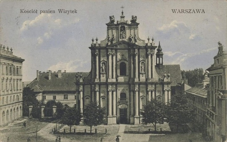 Postcard from 1920 of Kościół Wizytek (Church of the Visitation) in Warsaw. The church survived WWII intact.