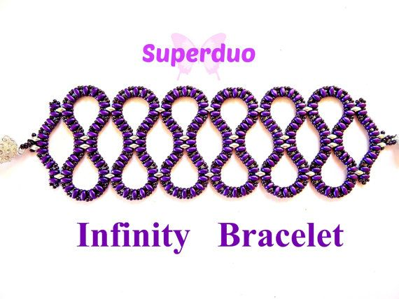 Tutorial Superduo Infinity Bracelet Pattern.  This bracelet has an open weave and each loop looks like the infinity symbol.  This easy to follow 7 page pattern is suitable for anyone who has used 2 holed beads before. Make something different today !  The finished bracelet measures 2 inches wide.  All my patterns are available to download as soon as payment has been made.  Materials required :- Superduo beads in 2 colours size 11/o seed beads  If you have any questions regarding any of my…