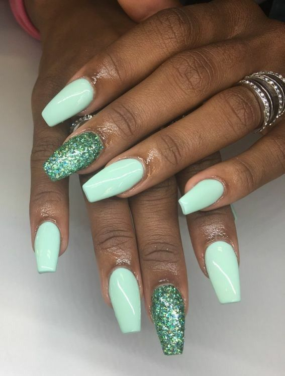 Tapered Square Nails Mint Nails Mint Glitter Nails Acrylic Nails Mint Nails Tapered Square Nails Mint Nail Designs