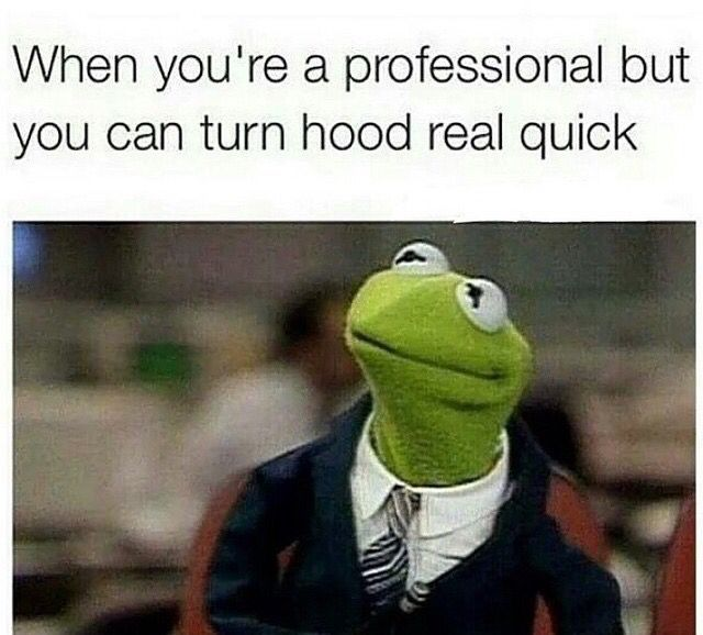 Funny Work Quotes : When you're professional but can turn hood real quick. Kermit the Frog memes