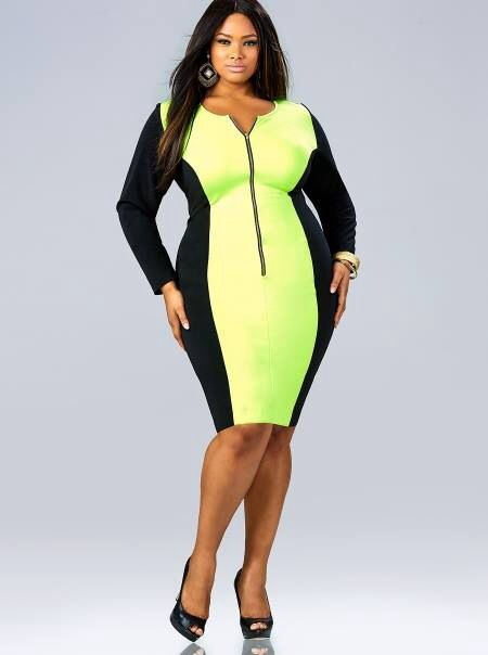 Plus size neon yellow colorblock dress #UNIQUE_WOMENS_FASHION ...
