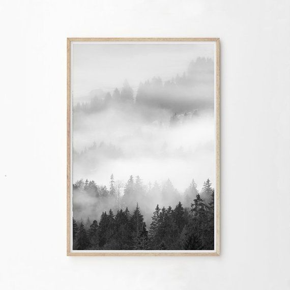 Black And White Mountain Print Forest Print Nature Print Minimalist Nature Wall Art Printable Mo Rustic Bedroom Design Forest Wall Art Earthy Home Decor
