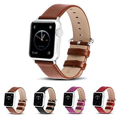 Apple Watch BandsFullmosa Lichi Calf Leather Strap Replacement Band with Stainless Metal Clasp for iWatch Series1 Series2Brown 42mm