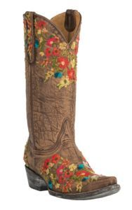 Old Gringo Women's Flora Brass with Multicolor Floral Embroidery Snip Toe Western Boots | Cavender's