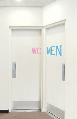 I know I'd probably go in the wrong one :() bathroom signage solution by Aliza Dzik