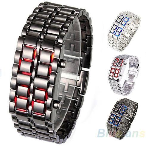 Fashion Men Women Lava Iron Samurai Metal LED Faceless Bracelet Watch Wristwatch Stainless Steel Novelty Item 0KPM