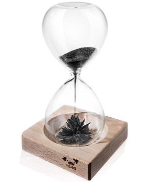 Magnetic Sand Hourglass: Desktop curio willed with iron filings.