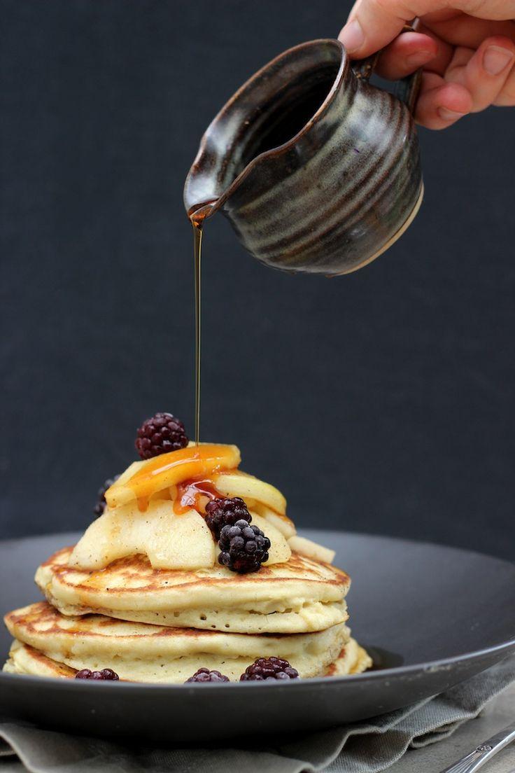 Fluffy Sourdough Pancakes with Caramel Apples