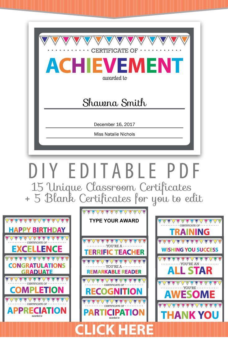 Editable PDF Kids Children Teacher Classroom Certificate Award ...