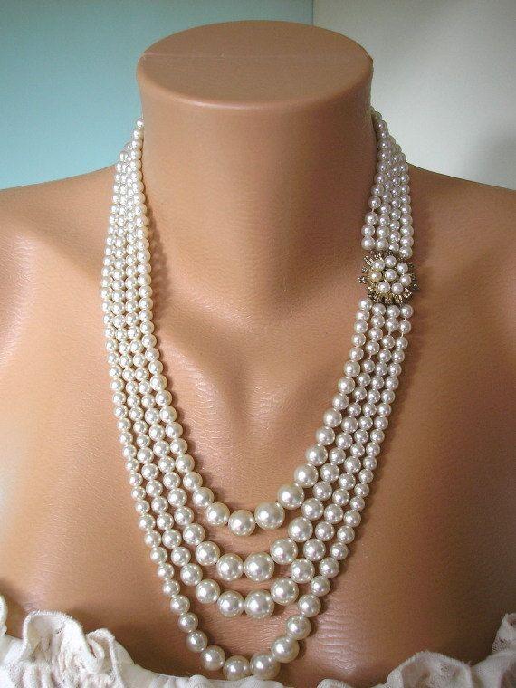 Great Gatsby Jewelry Pearl Necklace Art Deco Jewelry