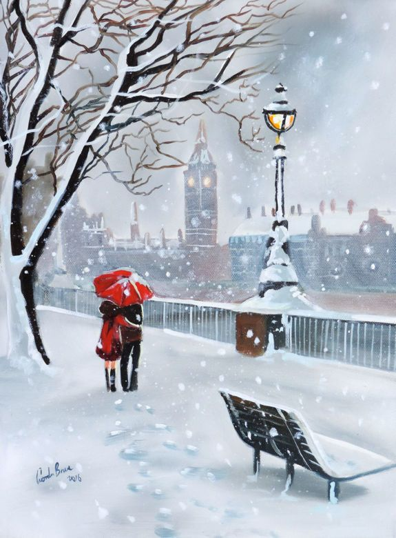 Lady in red London in winter original oil painting Gordon Bruce new UK art