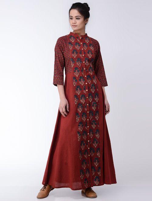 Maroon-Indigo Ajrakh-printed Cotton Dress