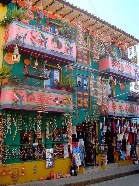 COLOMBIA - RAQUIRA- Colorful shops in , Boyacá Department.