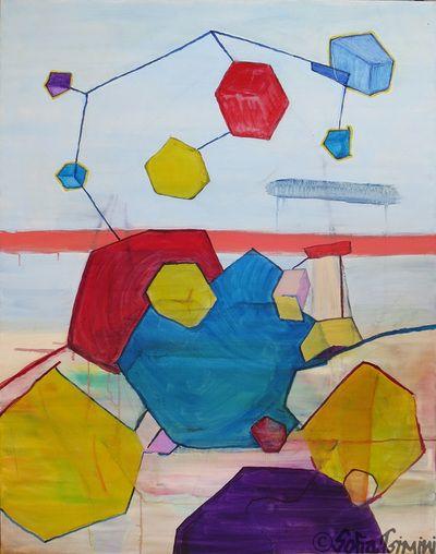 #I #stoop over #chaos and #listen #oilpainting #SofiaTsimini #geometric #music