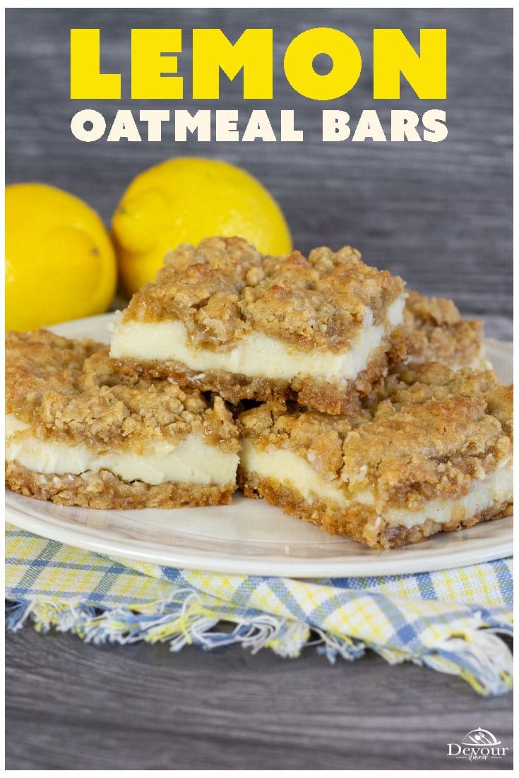Easy To Make Lemon Oatmeal Bars Made With Oatmeal Cookie Mix And Sweetened Condensed Milk And Lemon In 2020 Lemon Dessert Recipes Dessert Bar Recipe Delicious Desserts