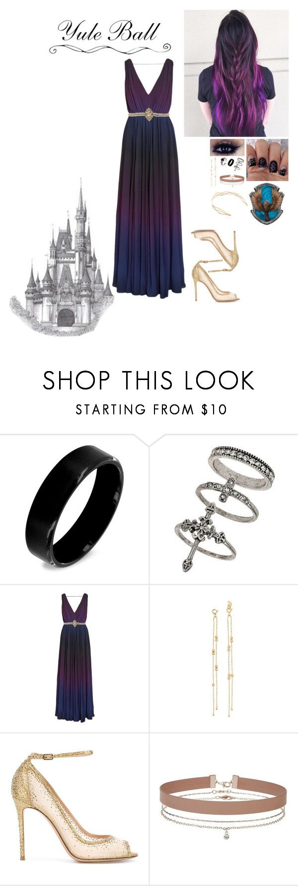 """Rain Virgo Baxley Yule Ball gown"" by alexishambleton on Polyvore featuring mode, West Coast Jewelry, Miss Selfridge, Raoul, Gianvito Rossi et Mrs. President & Co."
