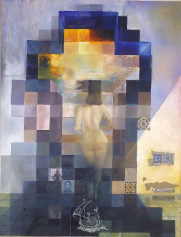 """Salvador Dalí  Inventor del Pixel Art en 1975 > Obra de Gala desnuda mirando el mar, que vista a varios metros de distancia nos """"muestra"""" el rostro del presidente Lincoln  1975"""