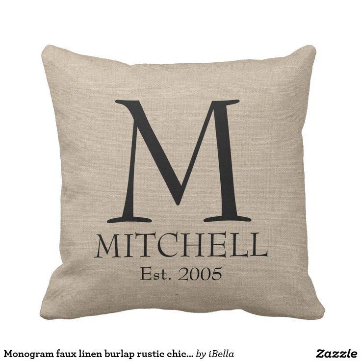 Monogram faux linen burlap rustic chic initial jute throw pillow