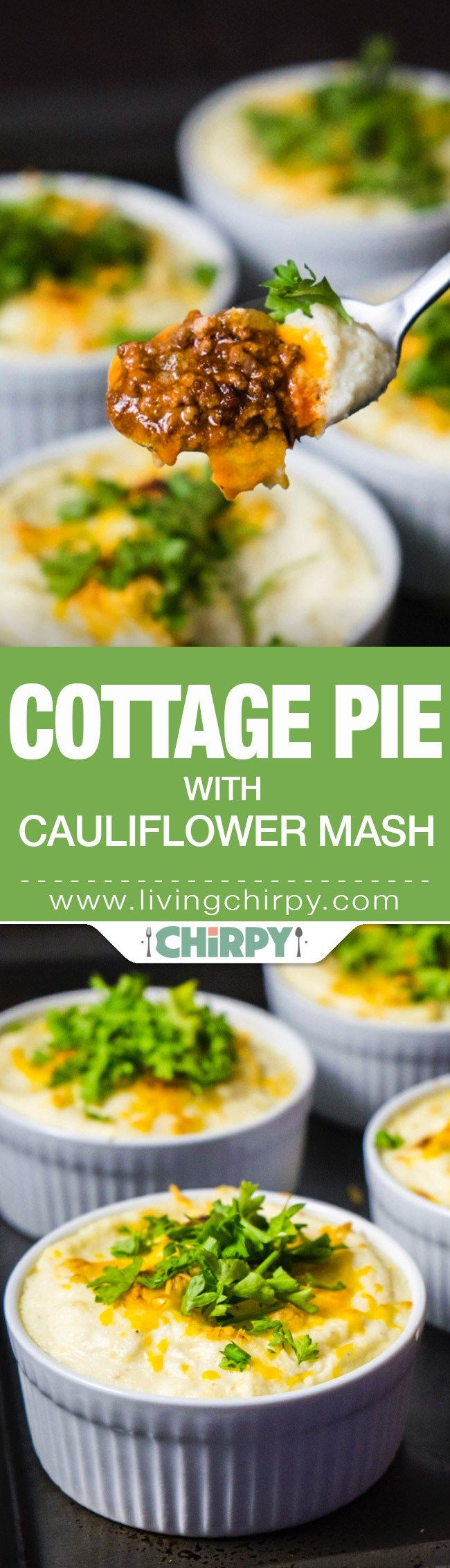 Low-Carb Cottage Pie with Cauliflower Mash - hearty ground beef topped with fluffy cauliflower mash and melted cheese. Dinner for a cold night.