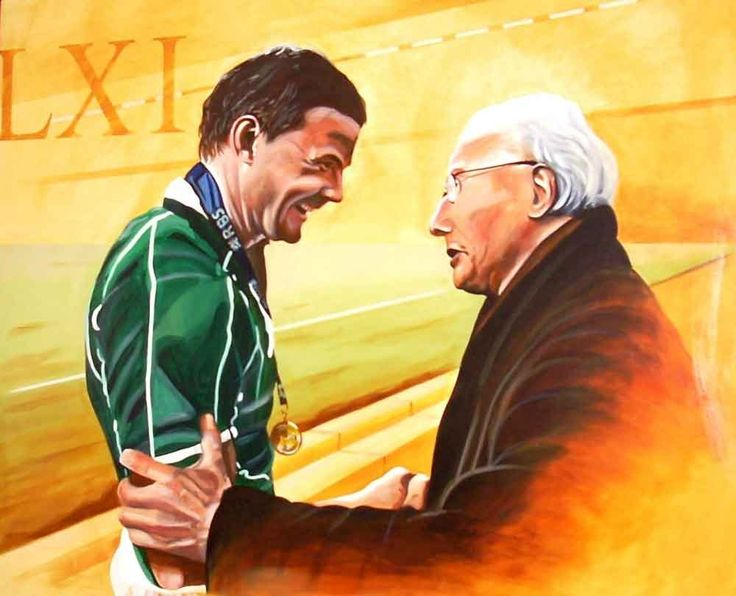 O'Driscoll & Kyle: Brian O'Driscoll being congratulated by Jackie Kyle following Ireland's defeat of Wales in 2009 to win the Grand Slam. Kyle had played in the last Irish team to achieve this distinction. Ireland Rugby Art
